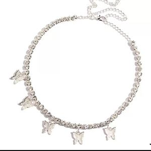 Silver Butterfly Rhinestone Necklace